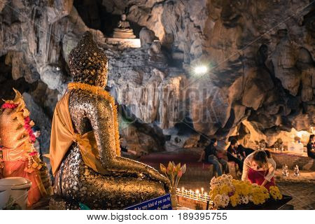 Chiangmai Thailand ; 22 April 2017; People are worshiping Buddha in Chiang Dao Cave at Wat Tham Chiang Dao temple in Chiangmai Thailand