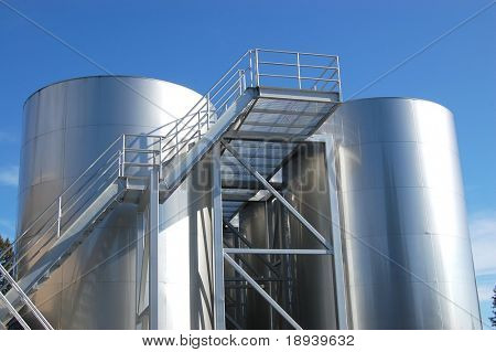 fermentation tanks at a winery in sonoma valley