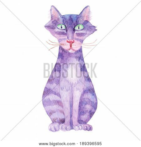 Cute Watercolor colorful Striped cat Illustrations isolated on white background.Hand drawn vintage cat and retro design. Greeting card poster with cute sweet cat