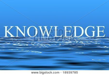 The word knowledge reflecting on the rippling water