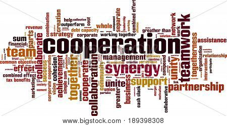 Cooperation word cloud concept. Vector illustration on white