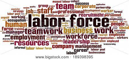 Labor force word cloud concept. Vector illustration