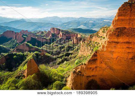 Las Medulas antique roman mine seen from Orellan viewpoint