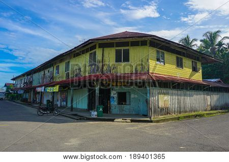 Weston,Beaufort,Sabah-May 28,2017:Historical shop house buildings in Weston,Sabah,Borneo.Its a historical town that flourished thanks to the North Borneo railroad started in 1896 by the British North Borneo Chartered Company administration.