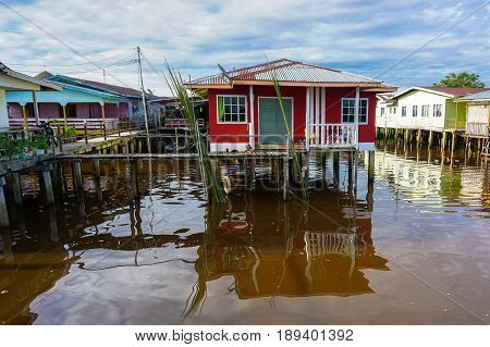 Weston,Beaufort,Sabah-May 28,2017:Floating houses of water village in Weston,Beaufort,Sabah,Borneo on 28th May 2017.The population of Weston fishing village is composed mainly of Brunei Malays,Bisaya & Chinese.
