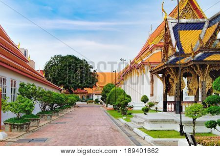 Bangkok, Thailand - December 8, 2015: Classical Thai architecture in National Museum. It is the main branch museum of the National Museums in Thailand and also the largest museum in Southeast Asia.