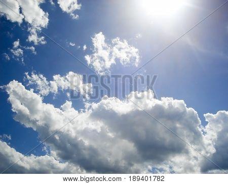 Sky, blue sky and clouds, bright sun