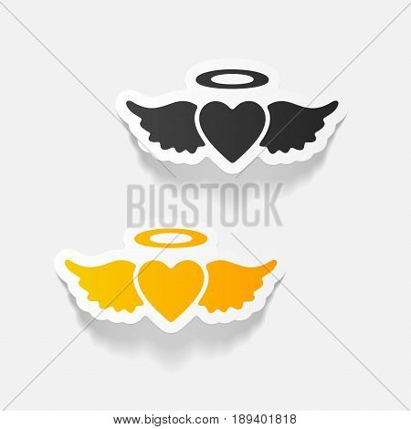 It is a realistic design element heart angel