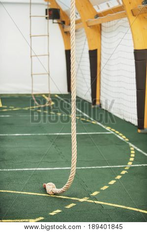 Rope For Climbing In Sport School Gym Hall