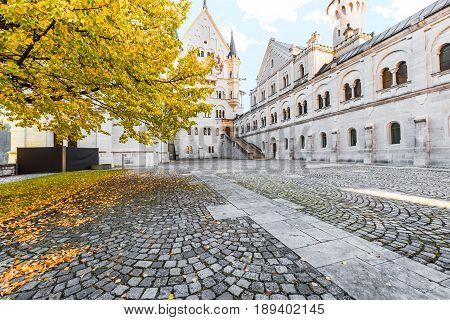 Hohenschwangau , Germany - September 2016: in the courtyard of Neuschwanstein castle