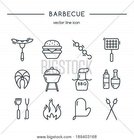 Barbeque icons line set. Line art. Vector illustration.
