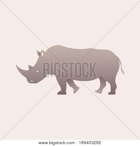 Silhouette of a rhino. Rhinoceros side view profile. Vector illustration.
