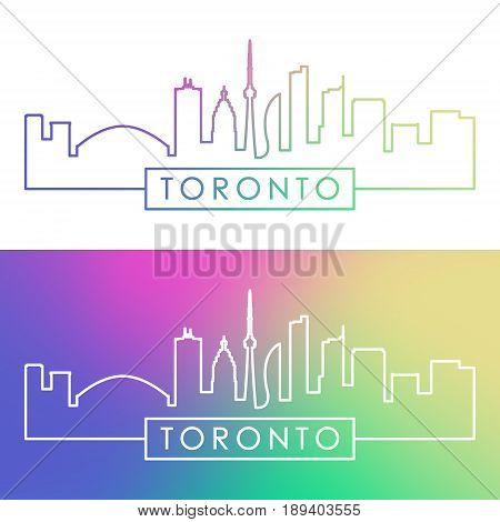 Toronto skyline. Colorful linear style. Editable vector file.