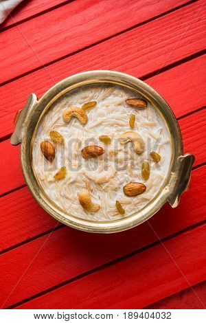 Most famous Indian sweet pudding Kheer or semiya khir in a bowl.Selective focus