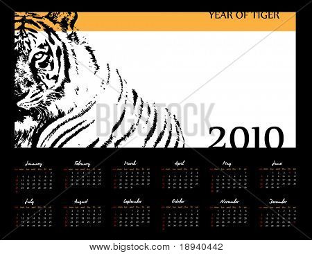 Calendar 2010. Year of Tiger. Vector. Computer Design.