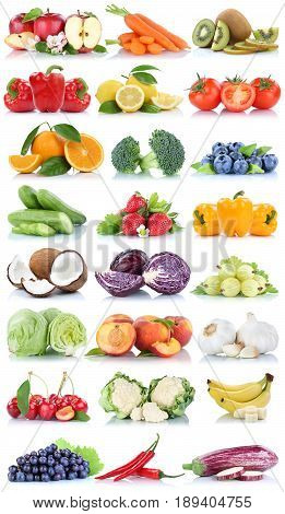Fruits And Vegetables Collection Isolated Orange Apple Lettuce Bananas Fresh Fruit