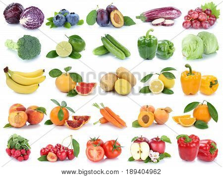 Fruits And Vegetables Collection Isolated Apple Orange Grapes Colors Fresh Fruit