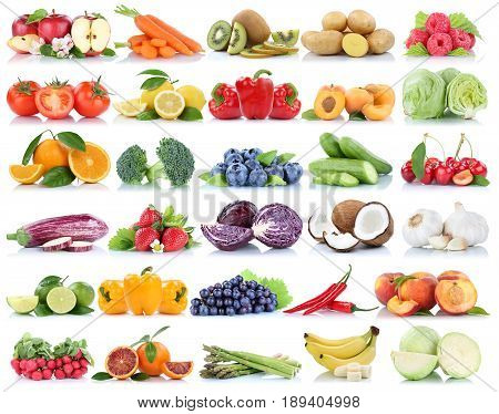 Fruits And Vegetables Collection Isolated Orange Apple Berries Bananas Grapes Tomatoes Fresh Fruit