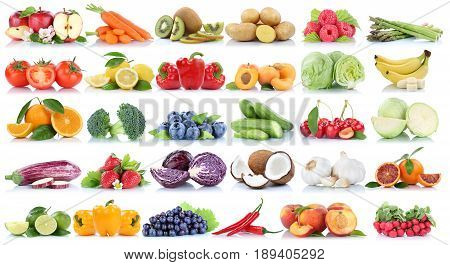 Fruits And Vegetables Collection Isolated Orange Apple Berries Bananas Grapes Fresh Fruit