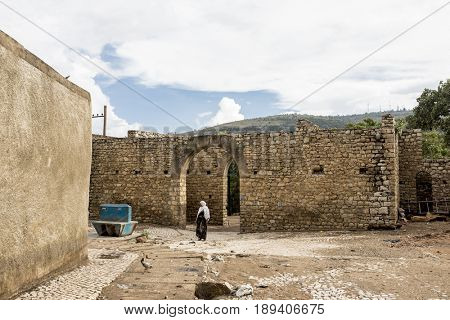 HARAR, ETHIOPIA - MARCH 26, 2017: Buda Gate, also known as Badro bari, Karra Budawa, and Hakim Gate, is one of the entrances to Jugol, the fortified historic walled city on UNESCO World Heritage List.