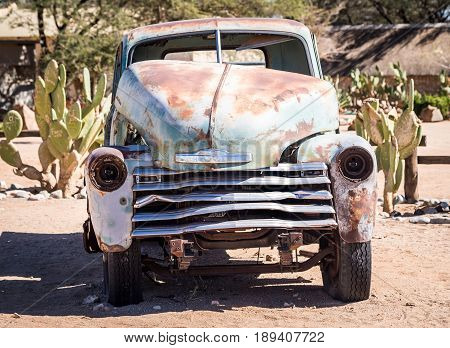 SOLITAIRE NAMIBIA - JUNE 18 2016: Old car wreck left in Solitaire on the Namib Desert Namibia.