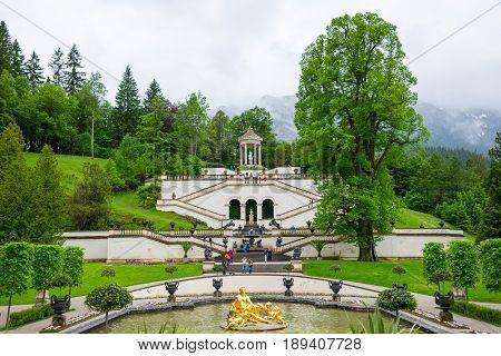Ettal, Germany - June 5, 2016: Linderhof Palace in Baviera, Germany, one of the castles of former king Ludwig II.