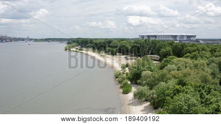 Rostov-on-DonRussia- May 282017: Construction of a new stadium for the FIFA world Cup 2018