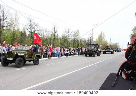 May 9, 2017, 10:36:32 Russia The city of Dimitrovgrad parade dedicated to the day of trying. World War II 1941-1945 illustrative editorial.