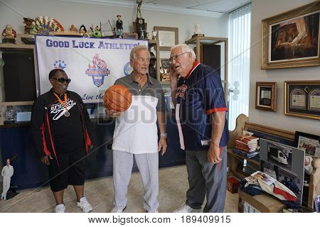 LOS ANGELES - JUN 1:  Vivian Stancil, Pat Boone, Bob Messersmith at the National Senior Games Press Conference at the Pat Boone Enterprises on June 1, 2017 in West Hollywood, CA