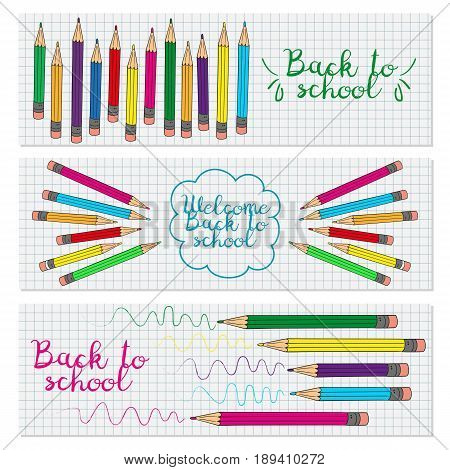 Set of three horizontal banners with multicolored pencils. Doodle back to school background. Vector illustration.