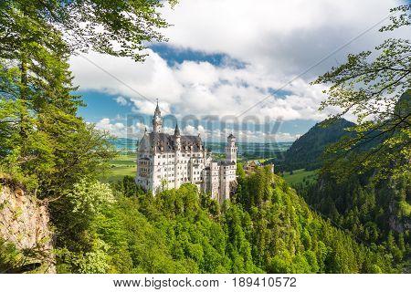 Neuschwanstein castle in a summer day in Germany.