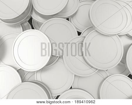 Silver Coins Background 3D Illustration