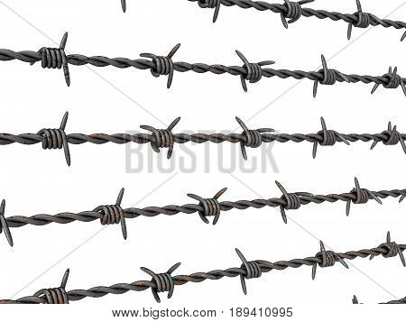 Barbed wire on a white background. 3D illustration.