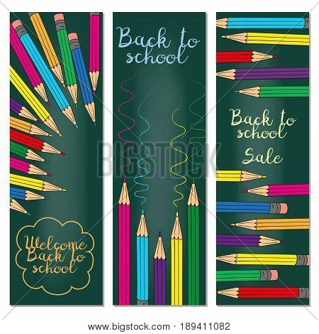Set of three vertical banners with multicolored pencils. Doodle back to school background. Vector illustration.