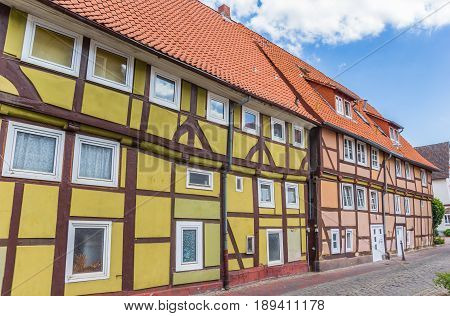 Street With Colorful Half-timbered Houses In Rinteln