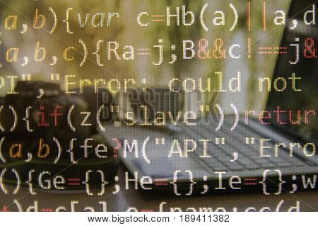 Programming code with computer background of software developer and computer script