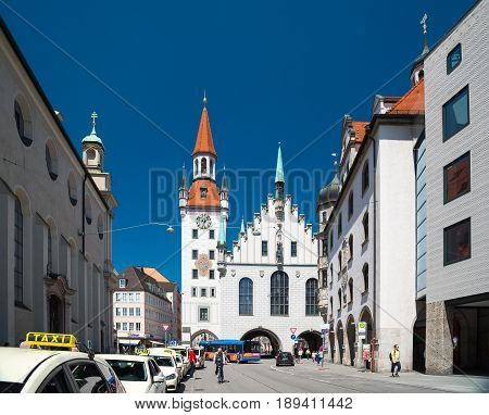 Munich, Germany - June 7, 2016: Old Town Hall - Altes Rathaus. Building at Marienplatz in Munich, Germany