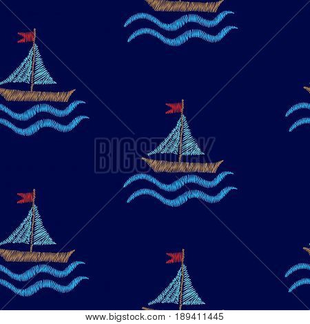 Seamless pattern with embroidery stitches imitation boat and wave illustration. Marine embroidery pattern vector background for printing on fabric paper for scrapbook gift wrap.