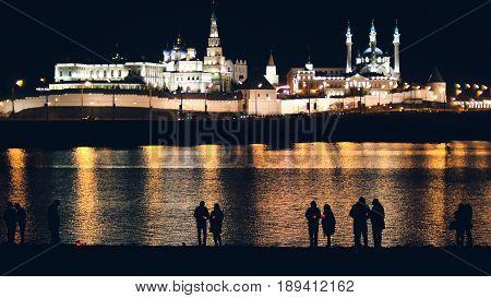 Kazan, Russia, 12 may 2017 - Kazan kremlin with reflection in river at night, telephoto