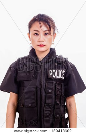 Chinese female police officer in flak jacket
