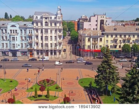 VINNYTSIA, UKRAINE - MAY 18, 2017: View of Soborna square and former hotel