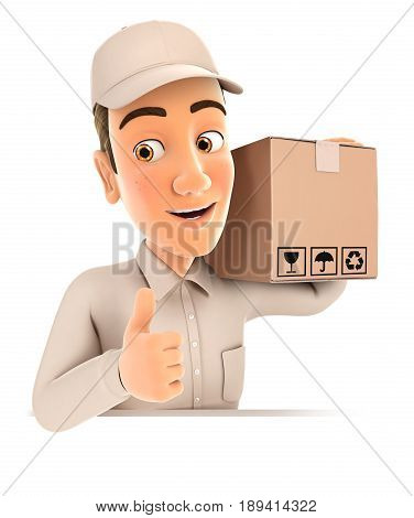 3d delivery man carrying package with thumb up illustration with isolated white background