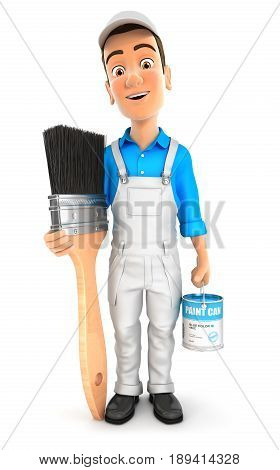 3d painter standing next to big paint brush illustration with isolated white background