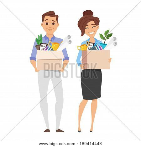 Vector flat style characters of successful smiling business woman and businessman holding cardboard box with work stuff on a new workplace. New job concept. Isolated on white background.