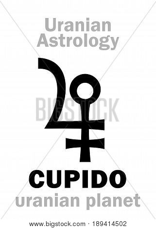 Astrology Alphabet: CUPIDO, Uranian planet (trans-neptunian point). Hieroglyphics character sign (single symbol).