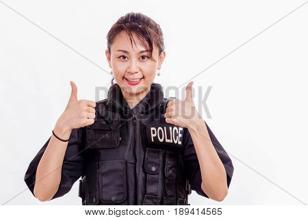 Chinese Female Police Officer With Thumbs Up
