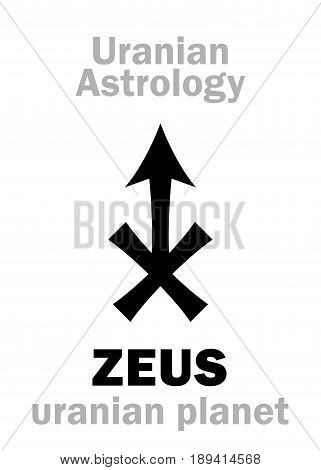 Astrology Alphabet: ZEUS, Uranian planet (trans-neptunian point). Hieroglyphics character sign (single symbol).