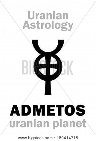 Astrology Alphabet: ADMETOS, Uranian planet (trans-neptunian point). Hieroglyphics character sign (single symbol).