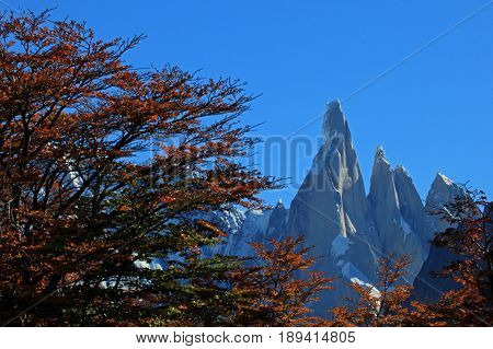 Cerro Torre mountain in autumn colors. Los Glaciares National park, Patagonia, Argentina