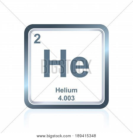 Symbol of chemical element helium as seen on the Periodic Table of the Elements, including atomic number and atomic weight.